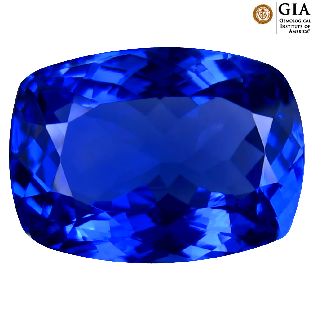 6.31 ct GIA CERTIFIED AAAA SIGNIFICANT CUSHION CUT (13 X 10 MM) NATURAL D'BLOCK TANZANITE GEMSTONE