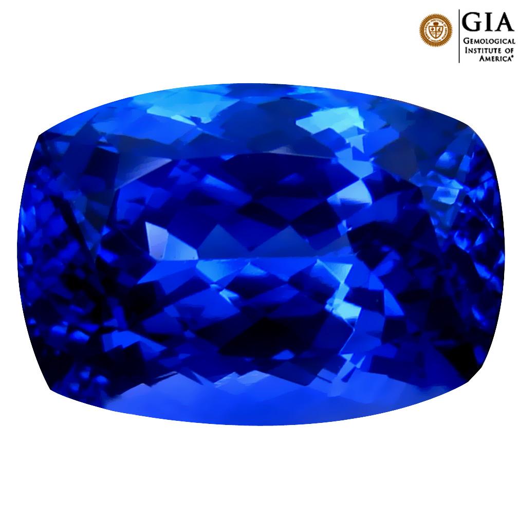 6.59 ct GIA CERTIFIED AAAA ROMANTIC CUSHION CUT (13 X 9 MM) NATURAL D'BLOCK TANZANITE GEMSTONE