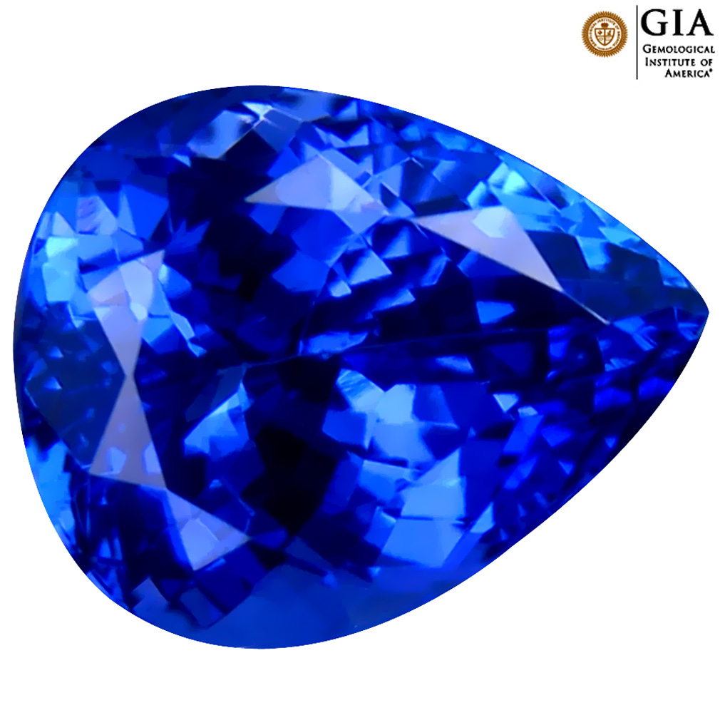 4.56 ct GIA CERTIFIED AAAA INCOMPARABLE PEAR CUT (10 X 9 MM) NATURAL D'BLOCK TANZANITE GEMSTONE