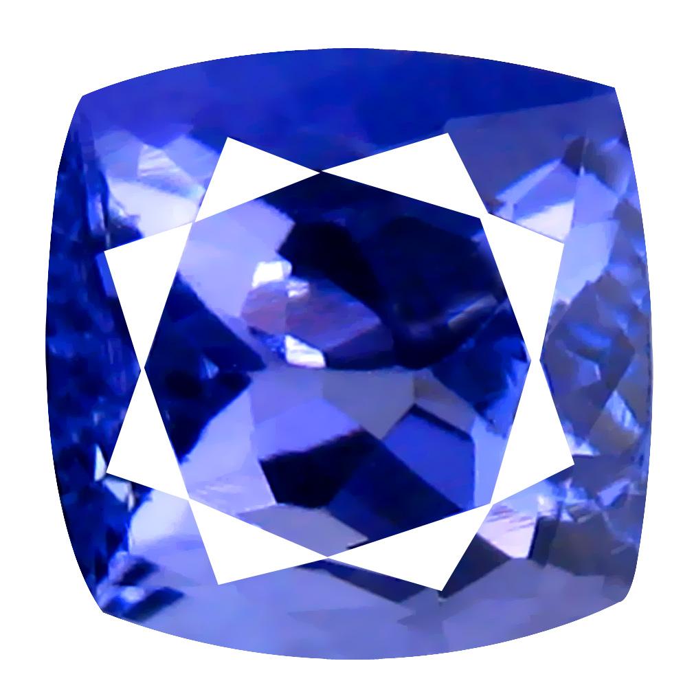 2.66 ct AAA Grade Incomparable Cushion Cut (8 x 7 mm) 100% Natural Purplish Blue Tanzanite Gemstone