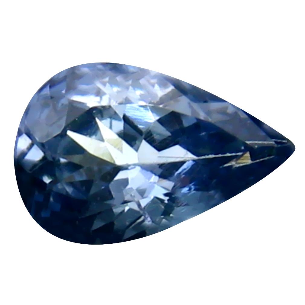 0.93 ct Excellent Pear Cut (8 x 5 mm) Un-Heated Greenish Blue Tanzanite Natural Gemstone