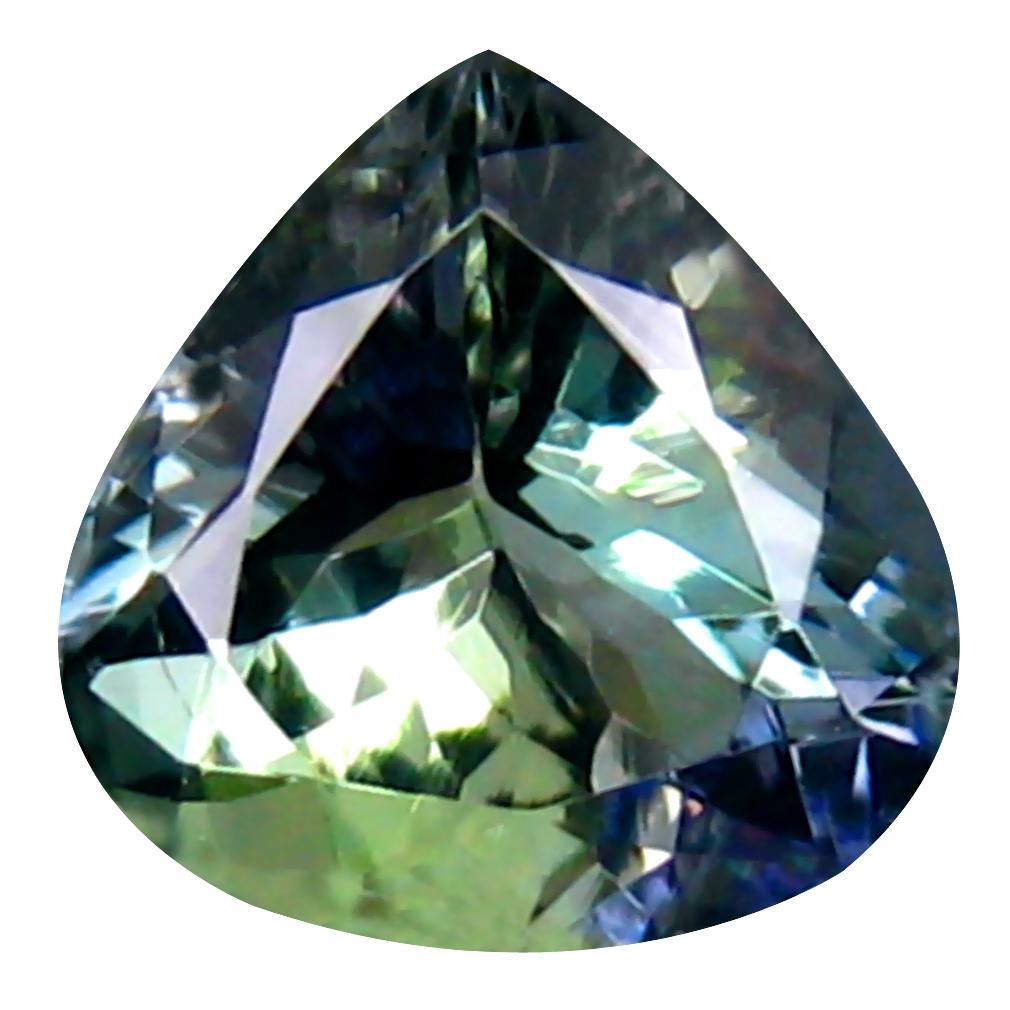 1.34 ct Tremendous Pear Cut (7 x 7 mm) Greenish Blue Un-Heated Tanzanite Natural Gemstone