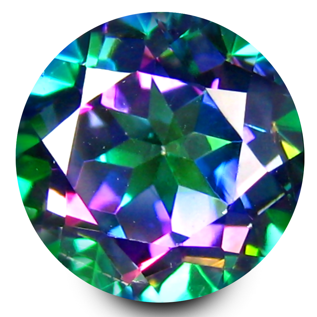 3.11 ct Stunning AAA+ Grade IF Clarity 9 mm Round Cut Fancy Mystic Sea Child Topaz Natural Gemstone