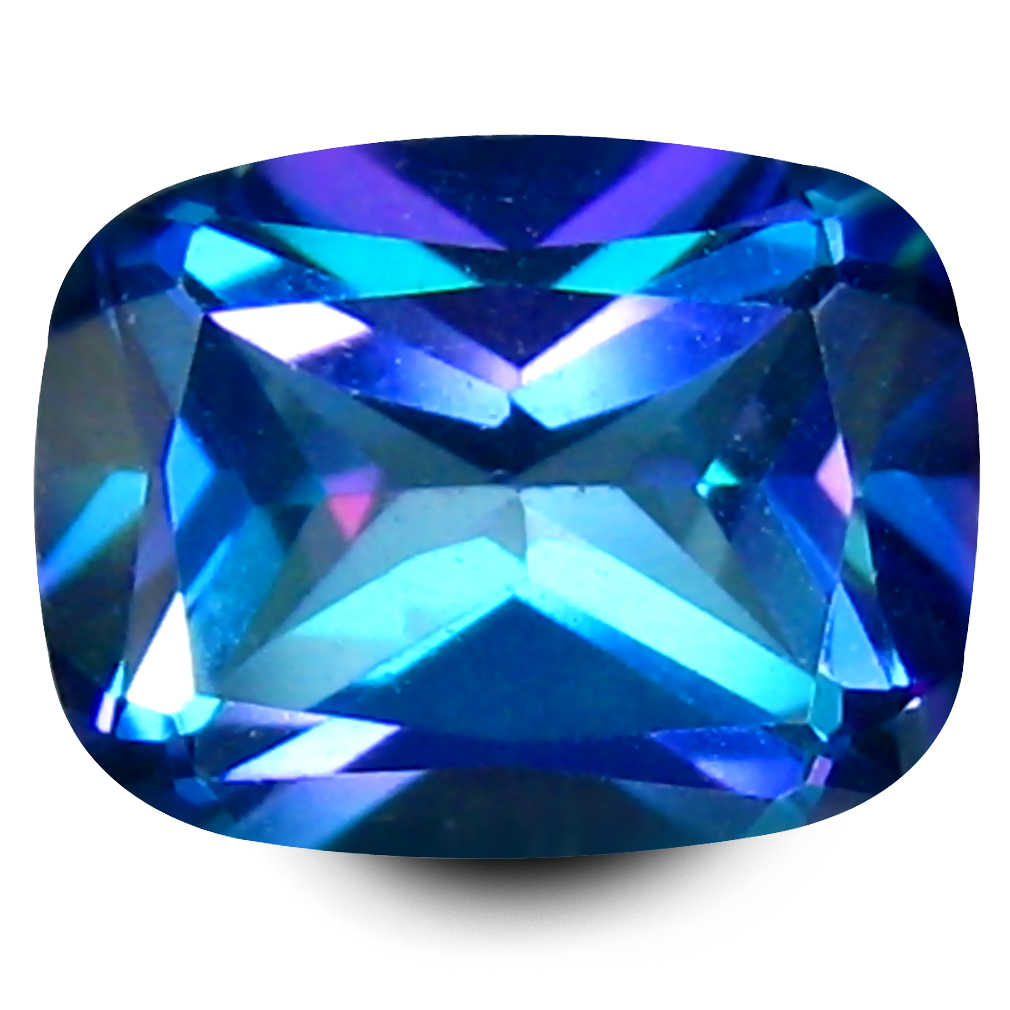 2.37 ct AAA+ Stunning Cushion Shape (9 x 7 mm) Mystic Blue Aurora Blue Topaz Natural Gemstone