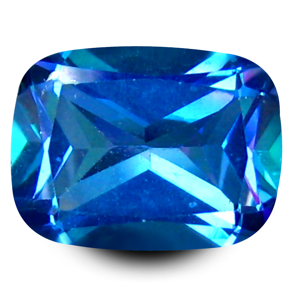 2.33 ct AAA+ Pretty Cushion Shape (9 x 7 mm) Mystic Blue Aurora Blue Topaz Natural Gemstone