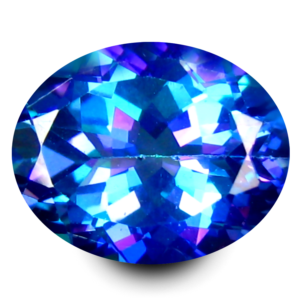 3.32 ct AAA+ Good-looking Oval Shape (10 x 8 mm) Mystic Blue Aurora Blue Topaz Natural Gemstone