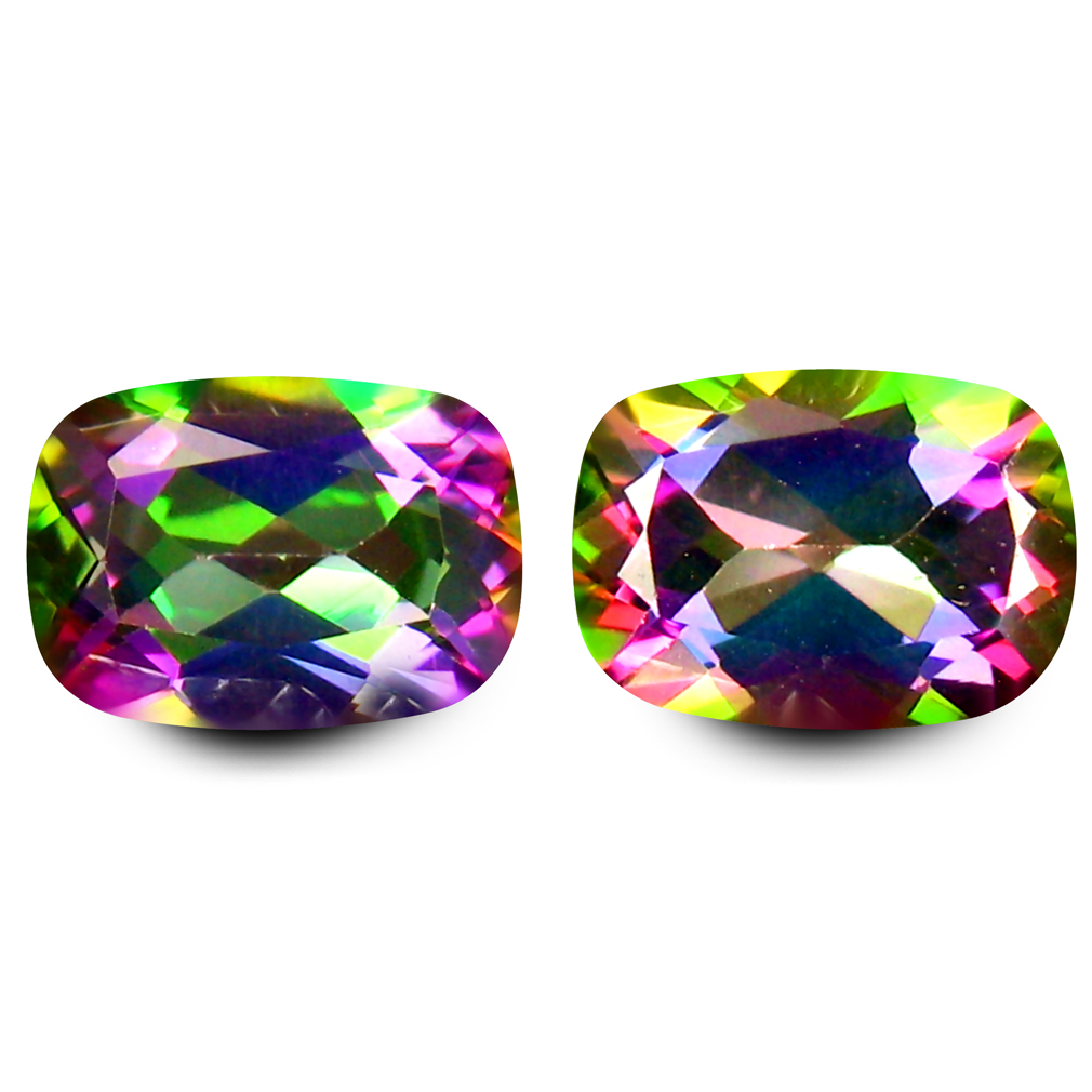 1.89 ct (2pcs) Grand looking MATCHING PAIR Cushion Shape (7 x 5 mm) Mystic Fire Topaz Natural Gemstone