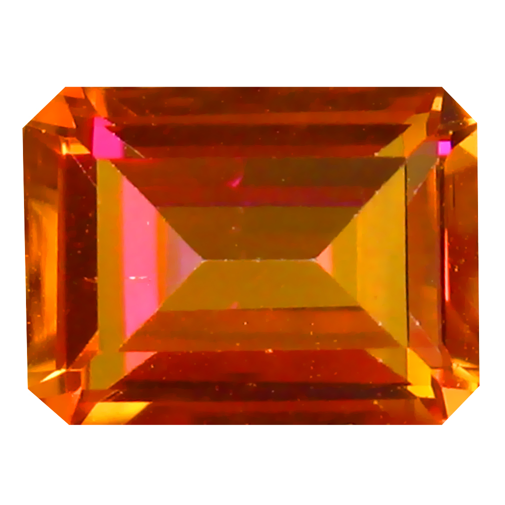 1.89 ct AAA+ Romantic Emerald Shape (8 x 6 mm) Multi Color Azotic Ecstacy Topaz Natural Gemstone
