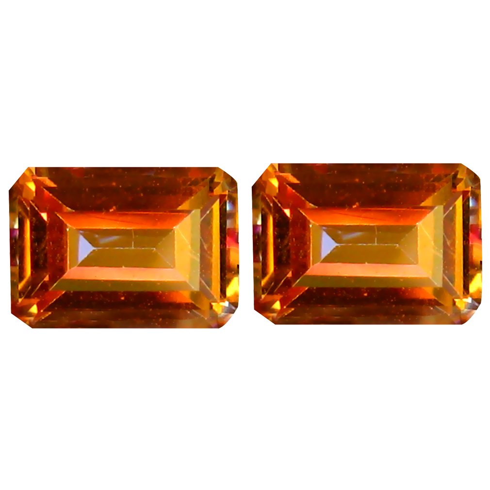 2.54 ct (2pcs) Attractive MATCHING PAIR Emerald Shape (7 x 5 mm) Azotic Ecstacy Topaz Natural Gemstone