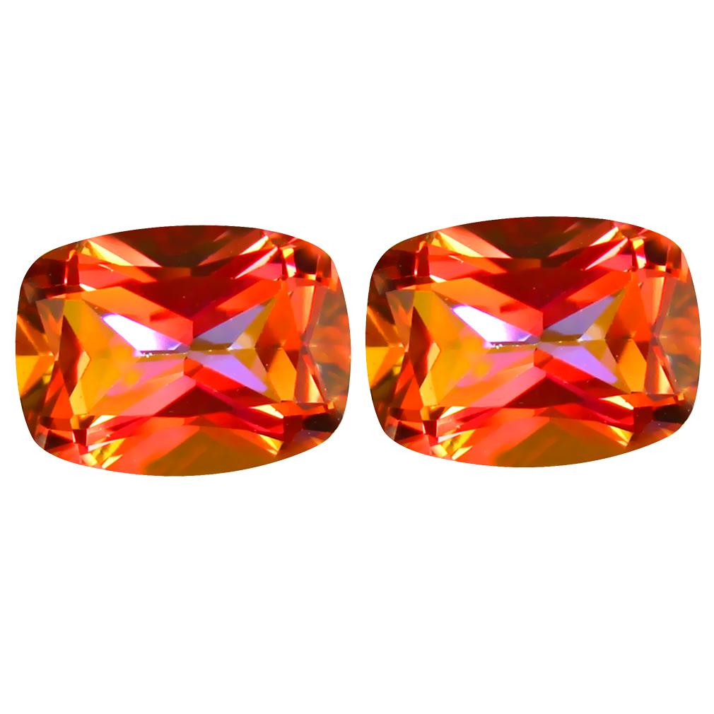 3.37 ct (2pcs) Impressive MATCHING PAIR Cushion Shape (8 x 6 mm) Azotic Ecstacy Topaz Natural Gemstone