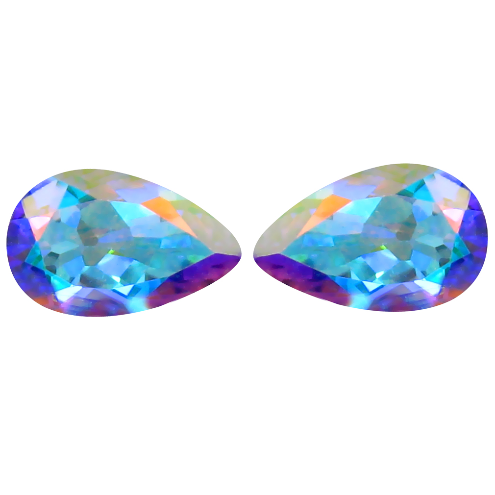 2.15 ct (2pcs) Eye-popping MATCHING PAIR Pear Shape (8 x 5 mm) Mercury Mystic Topaz Natural Gemstone