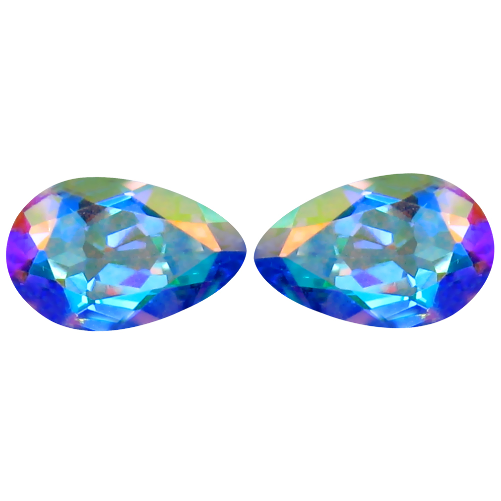 2.12 ct (2pcs) Astonishing MATCHING PAIR Pear Shape (8 x 5 mm) Mercury Mystic Topaz Natural Gemstone