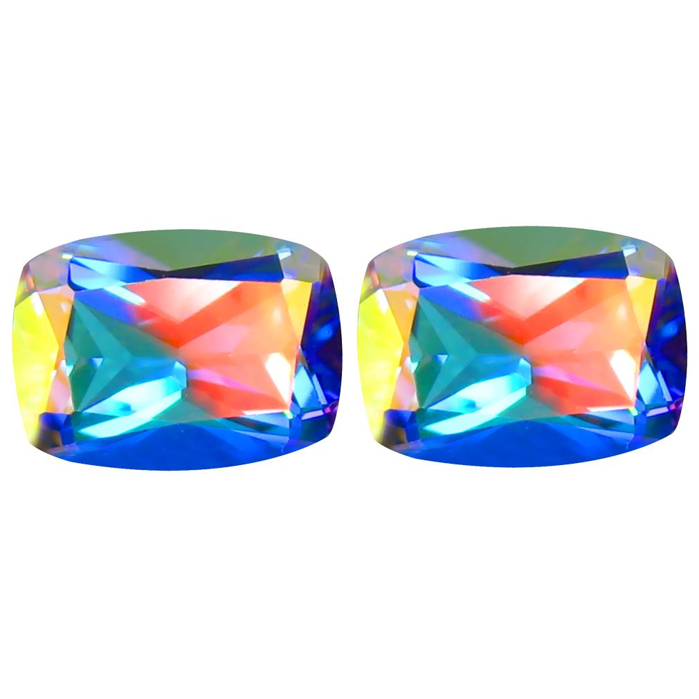 3.36 ct (2pcs) Astonishing MATCHING PAIR Cushion Shape (8 x 6 mm) Mercury Mystic Topaz Natural Gemstone