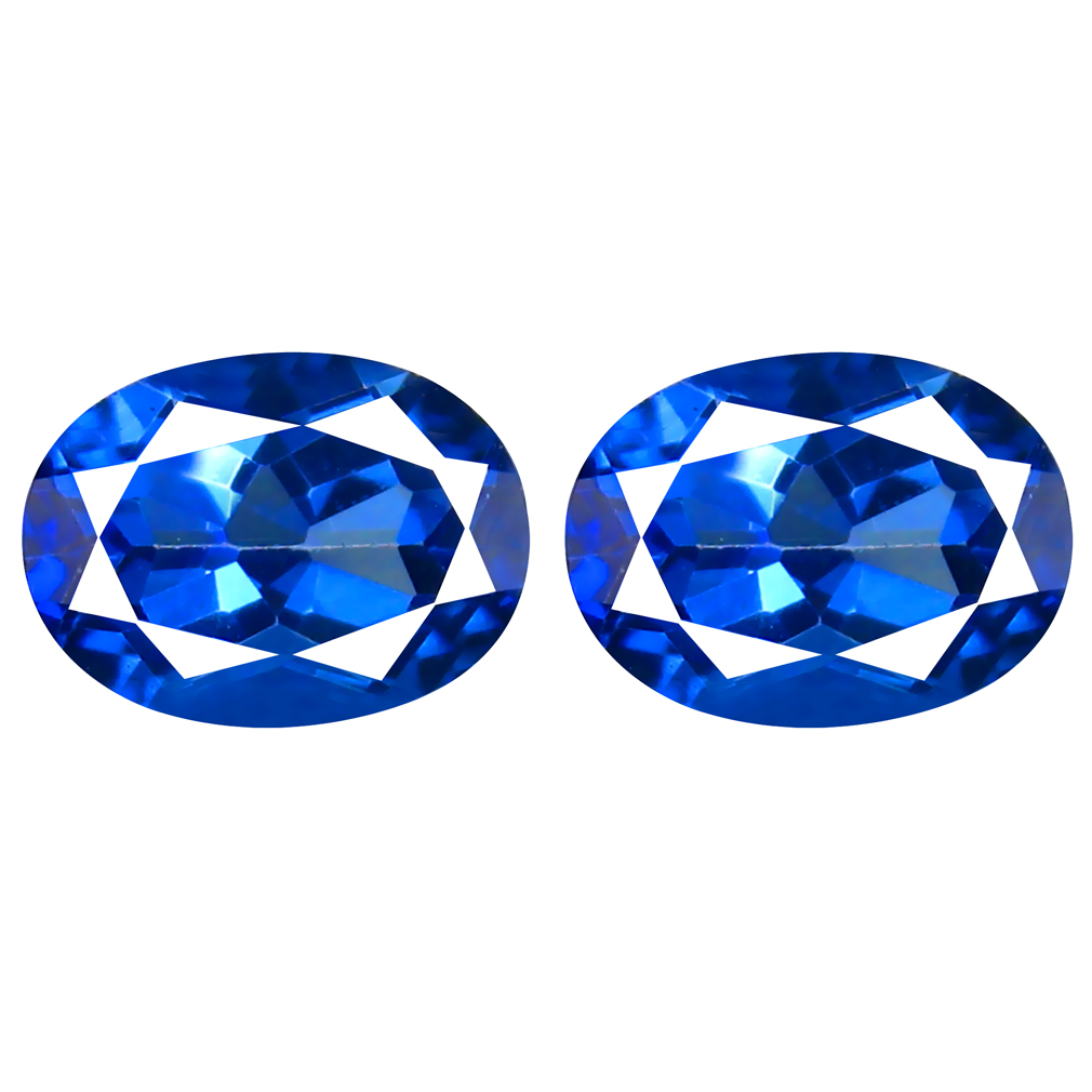 3.14 ct (2PCS) ELEGANT MATCHING PAIR OVAL SHAPE (8 X 6 MM) ENGLISH BLUE TOPAZ NATURAL GEMSTONE