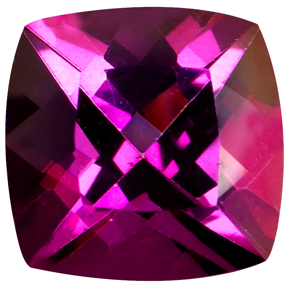 5.05 ct Remarkable Cushion Cut (10 x 10 mm) United States Pink Raspberry Passion Topaz Natural Gemstone