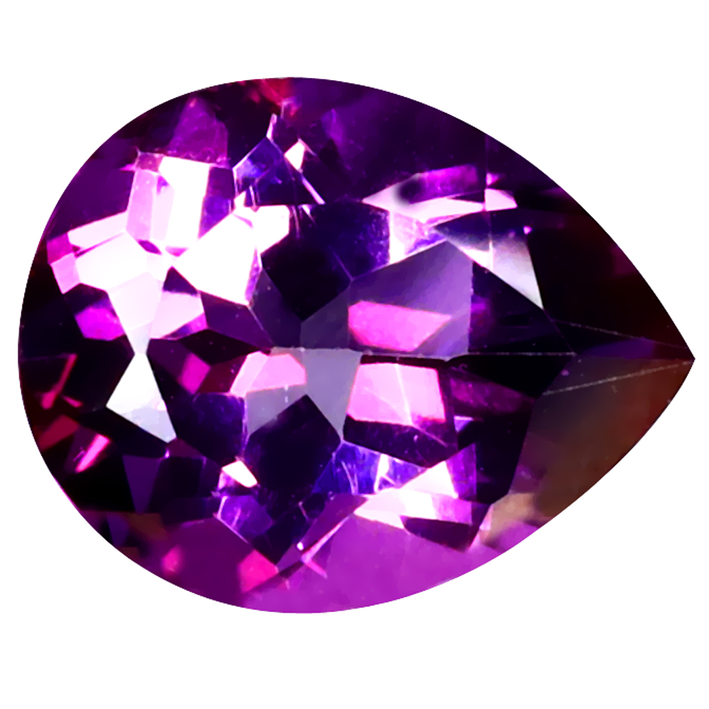 3.14 ct Shimmering Pear Cut (10 x 8 mm) United States Pink Mulberry Dawn Natural Gemstone