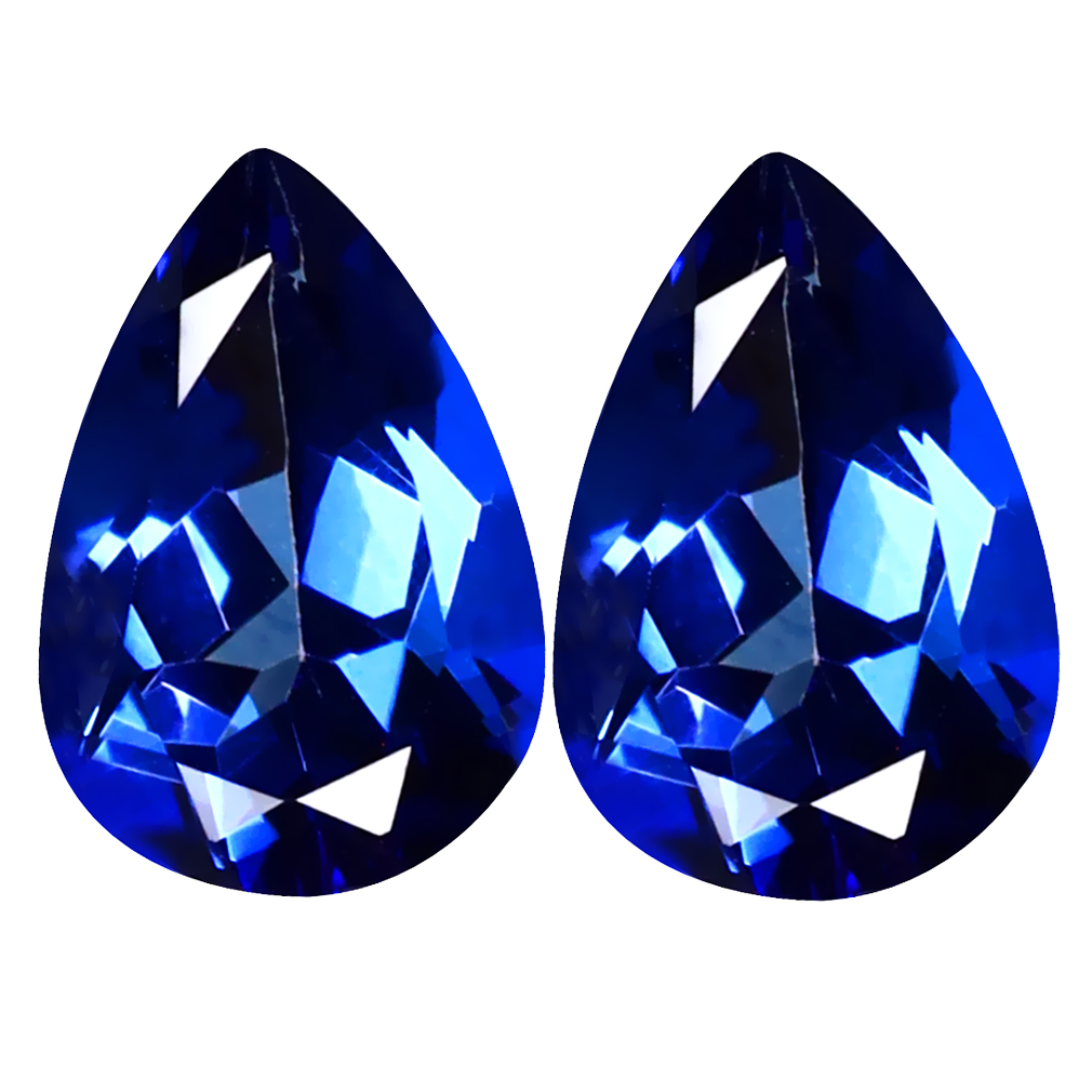 3.83 ct (2pcs) Fabulous MATCHING PAIR Pear Shape (10 x 7 mm) Blue Passion Topaz Natural Gemstone