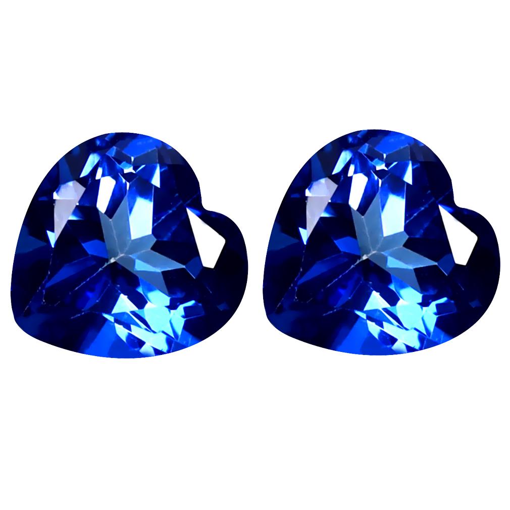 3.15 ct (2pcs) Exquisite MATCHING PAIR Heart Shape (7 x 7 mm) Blue Passion Topaz Natural Gemstone