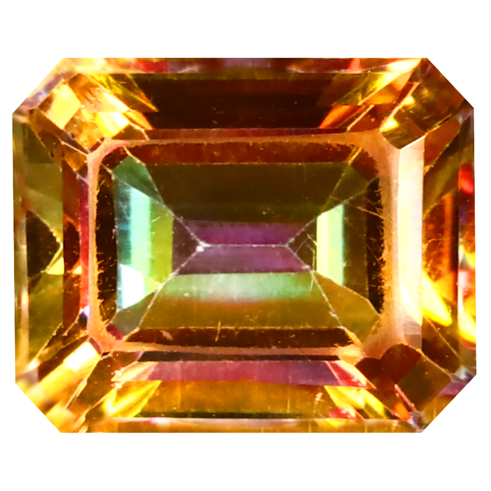 5.61 ct Super-Excellent Octagon (11 x 9 mm) Azotic Color Coating United States Autumn's Fire Topaz Loose Gemstone