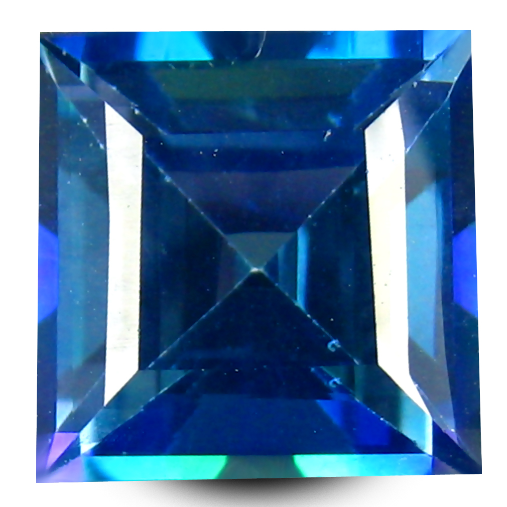 6.02 ct AAA+ Five-star Princess Shape (10 x 10 mm) Mystic Blue Neptune Garden Topaz Natural Gemstone