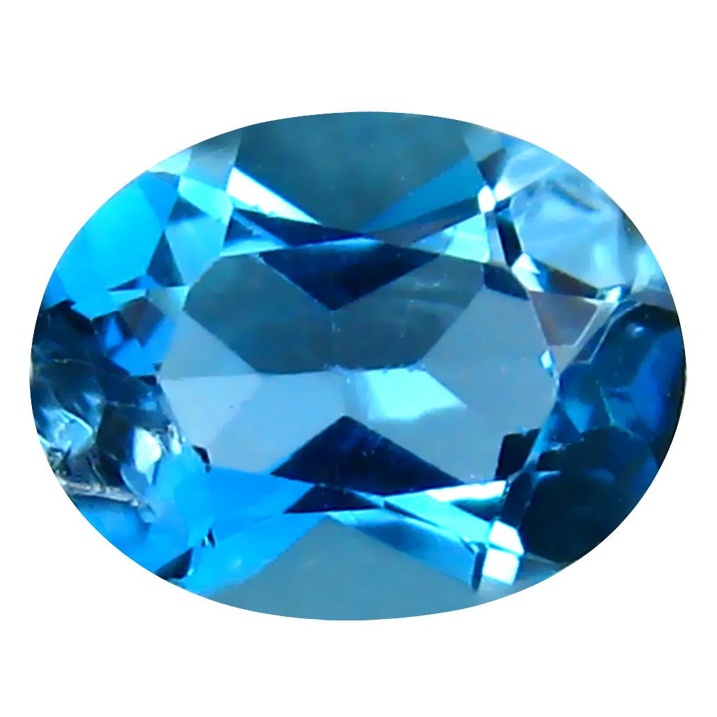 1.37 ct Shimmering Oval (8 x 6 mm) Brazilian London Blue Topaz Loose Gemstone