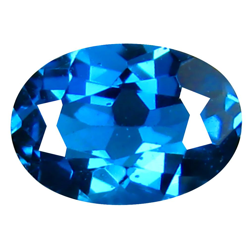 0.89 ct Mesmerizing Oval (7 x 5 mm) Brazilian London Blue Topaz Loose Gemstone