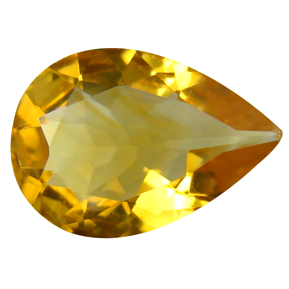 2.32 ct Very good Pear Cut (12 x 9 mm) Un-Heated Golden Yellow Citrine Natural Gemstone