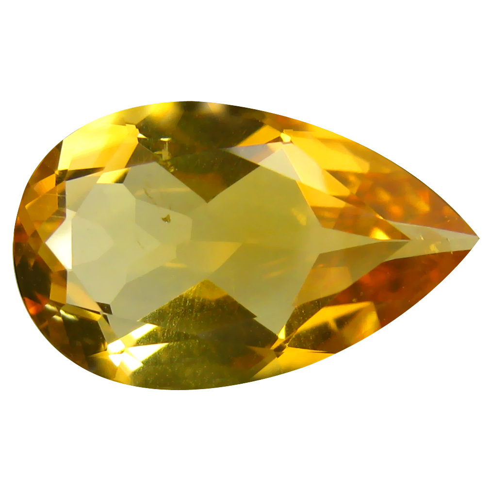 6.20 ct Grand looking Pear Cut (17 x 11 mm) Un-Heated Golden Yellow Citrine Natural Gemstone