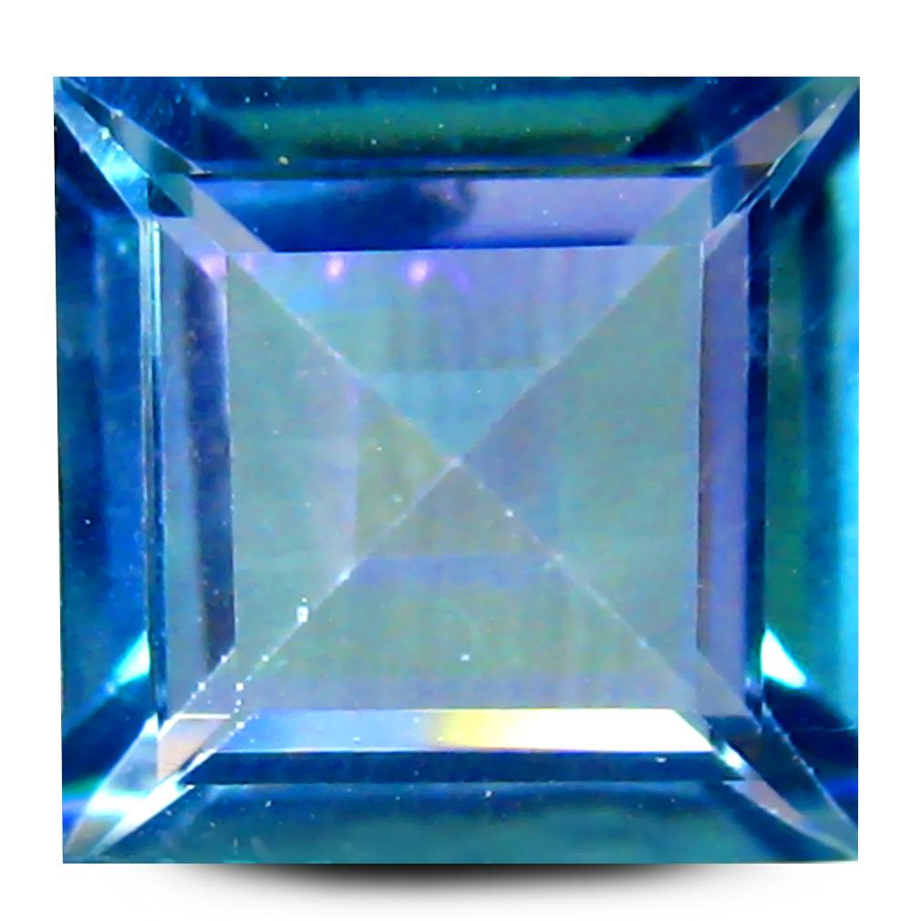 2.44 ct AAA Phenomenal Princess Shape (8 x 8 mm) Multi Color Blue Mystic Topaz Natural Gemstone