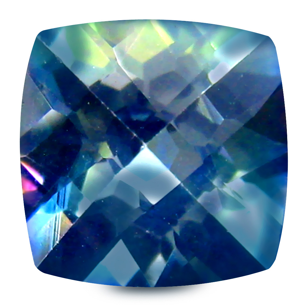 2.43 ct AAA Astonishing Cushion Shape (8 x 8 mm) Multi Color Blue Mystic Topaz Natural Gemstone