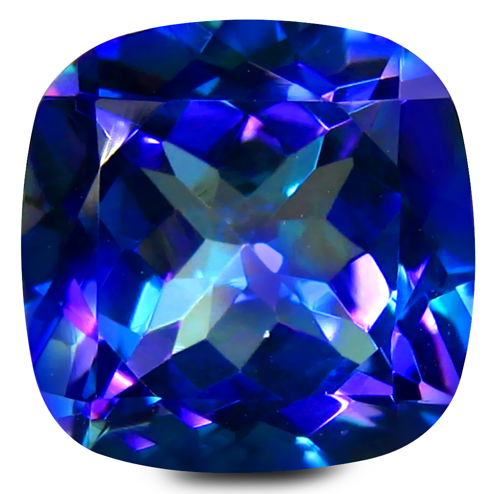 7.01 ct AAA+ Eye-popping Cushion Shape (11 x 11 mm) Violet Sheer Luck Topaz Natural Gemstone