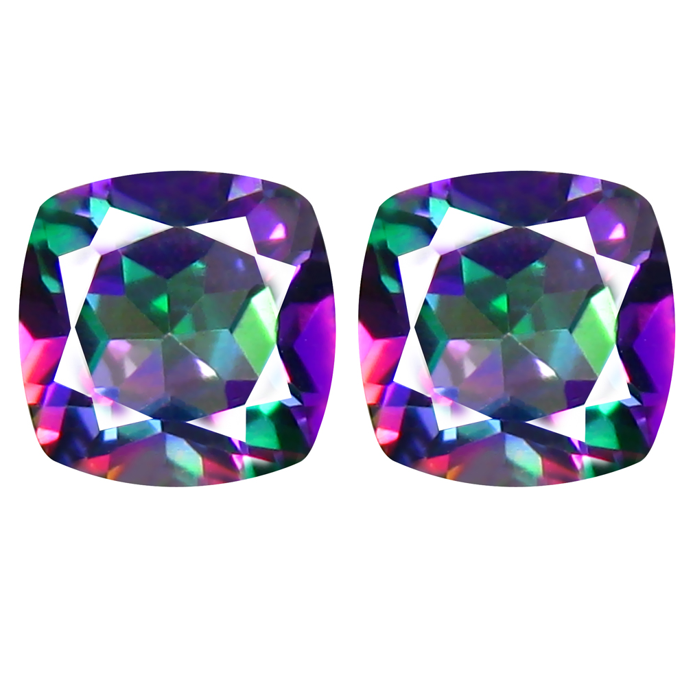 2.42 ct MATCHING PAIR Attractive Cushion Cut (6 x 6 mm) Fancy Mystic Sea Child Topaz Natural Gemstone