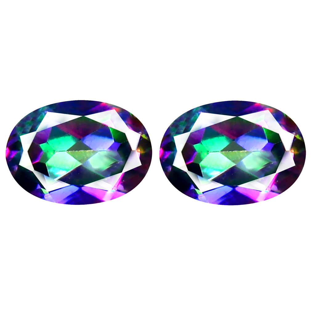 1.92 ct (2pcs) MATCHING PAIR Excellent Oval Cut (7 x 5 mm) Fancy Mystic Sea Child Topaz Genuine Stone