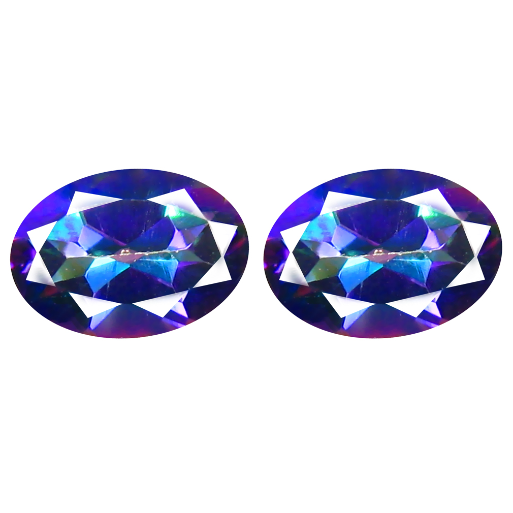 2.01 ct MATCHING PAIR Attractive Oval Cut (7 x 5 mm) Fancy Mystic Sea Child Topaz Natural Gemstone