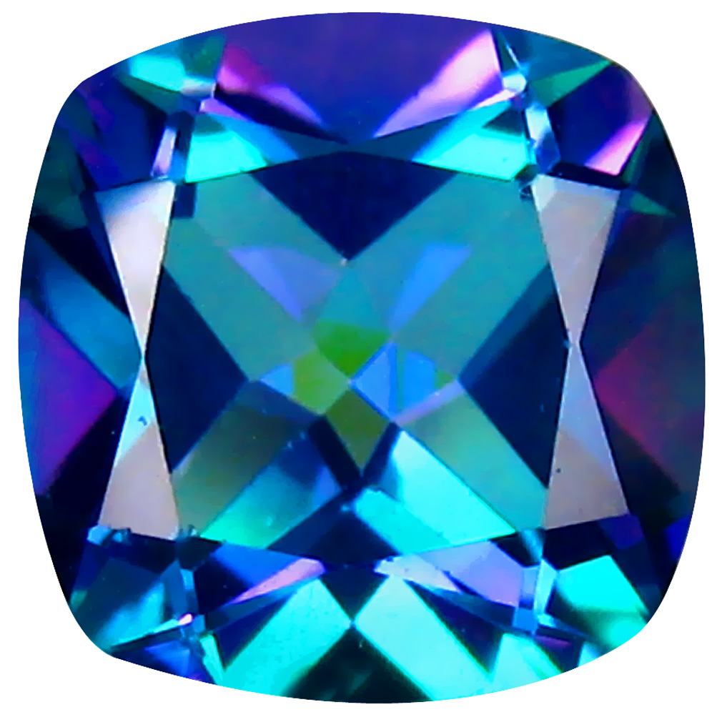 3.50 ct AAA Superb Cushion Shape (9 x 9 mm) Mystic Blue Aurora Blue Topaz Natural Gemstone
