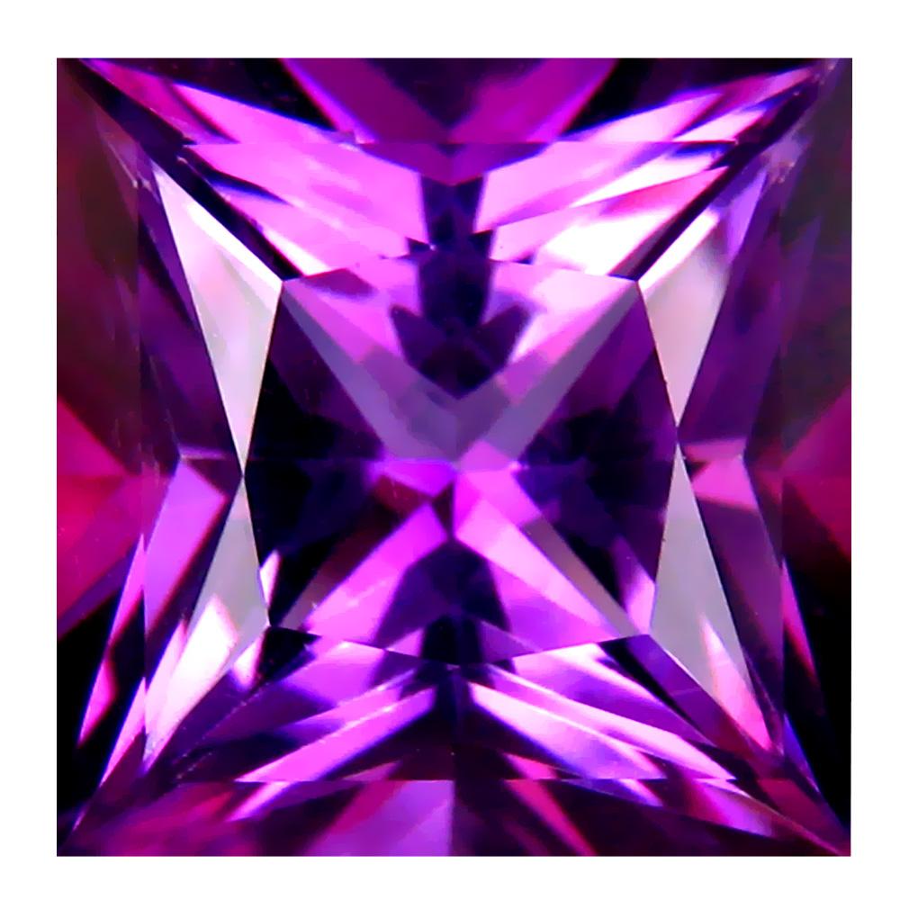 9.97 ct AAA Valuable Princess Shape (12 x 12 mm) Purplish Pink Raspberry Zinger Natural Gemstone
