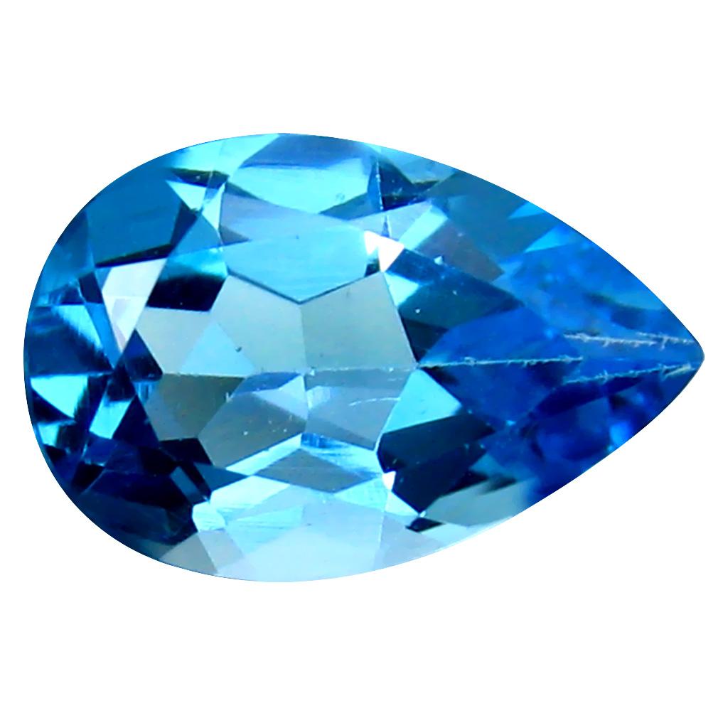 5.35 ct Extraordinary Pear Cut (14 x 9 mm) Brazil Blue Topaz Natural Gemstone