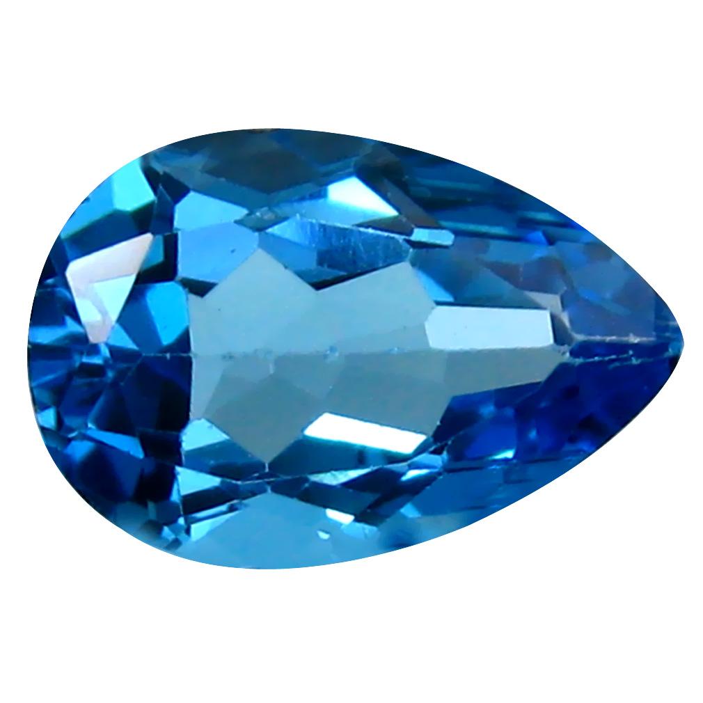 3.39 ct Superb Pear Cut (12 x 8 mm) Brazil Blue Topaz Natural Gemstone