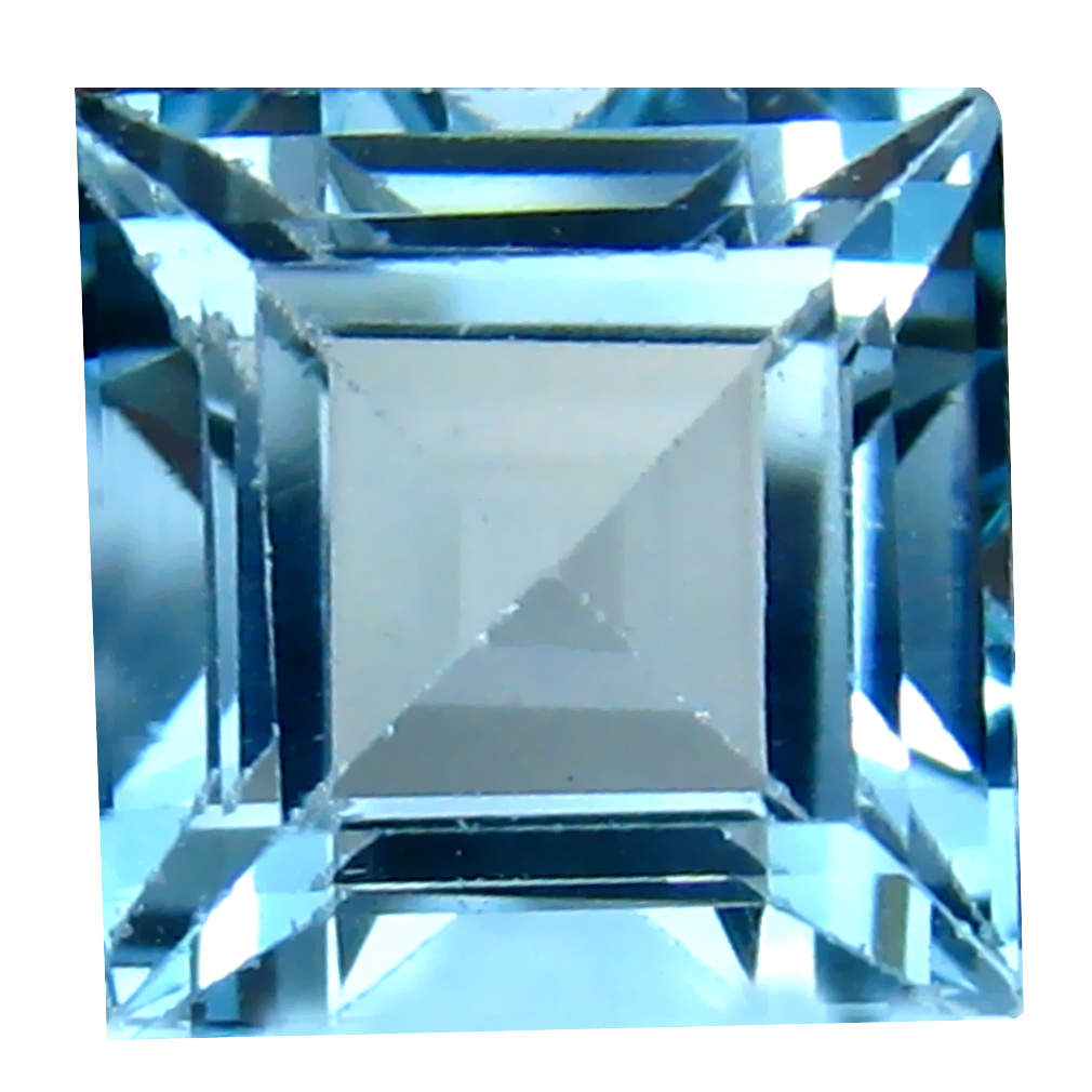 6.35 ct Excellent Princess Cut (10 x 10 mm) Brazil Blue Topaz Natural Gemstone