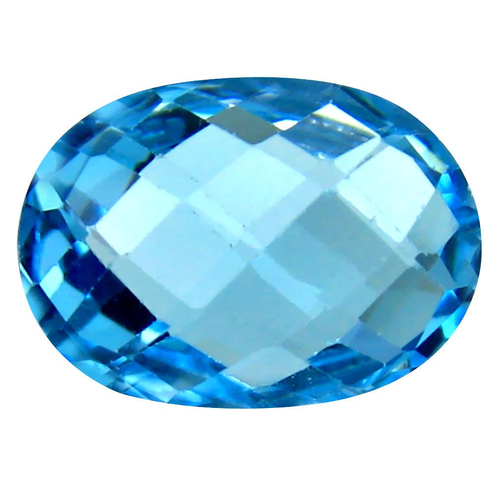 7.16 ct Resplendent Oval Cut (14 x 10 mm) Brazil Blue Topaz Natural Gemstone