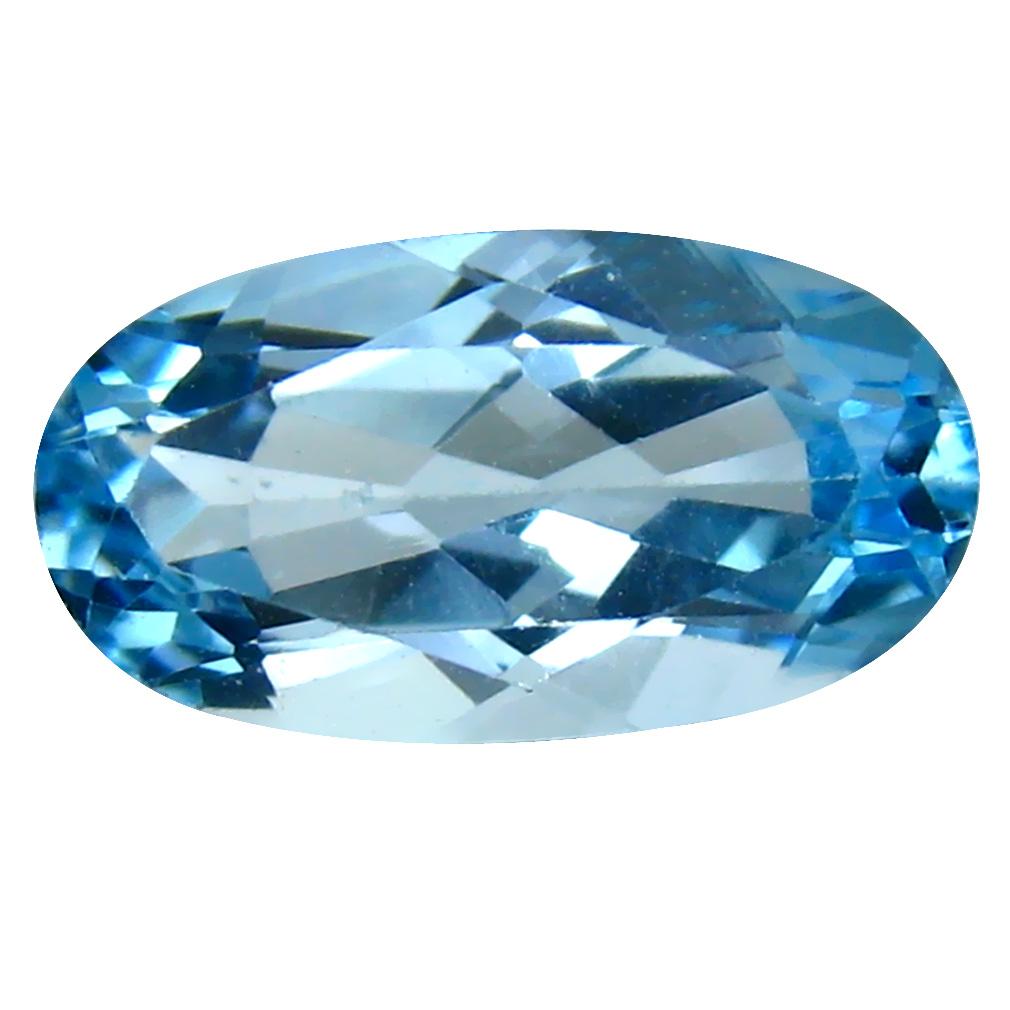 6.00 ct Magnificent fire Oval Cut (15 x 8 mm) Brazil Blue Topaz Natural Gemstone