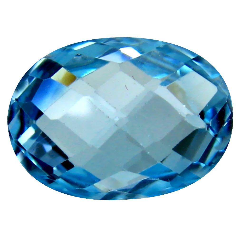 6.73 ct Excellent Oval Cut (14 x 10 mm) Brazil Blue Topaz Natural Gemstone