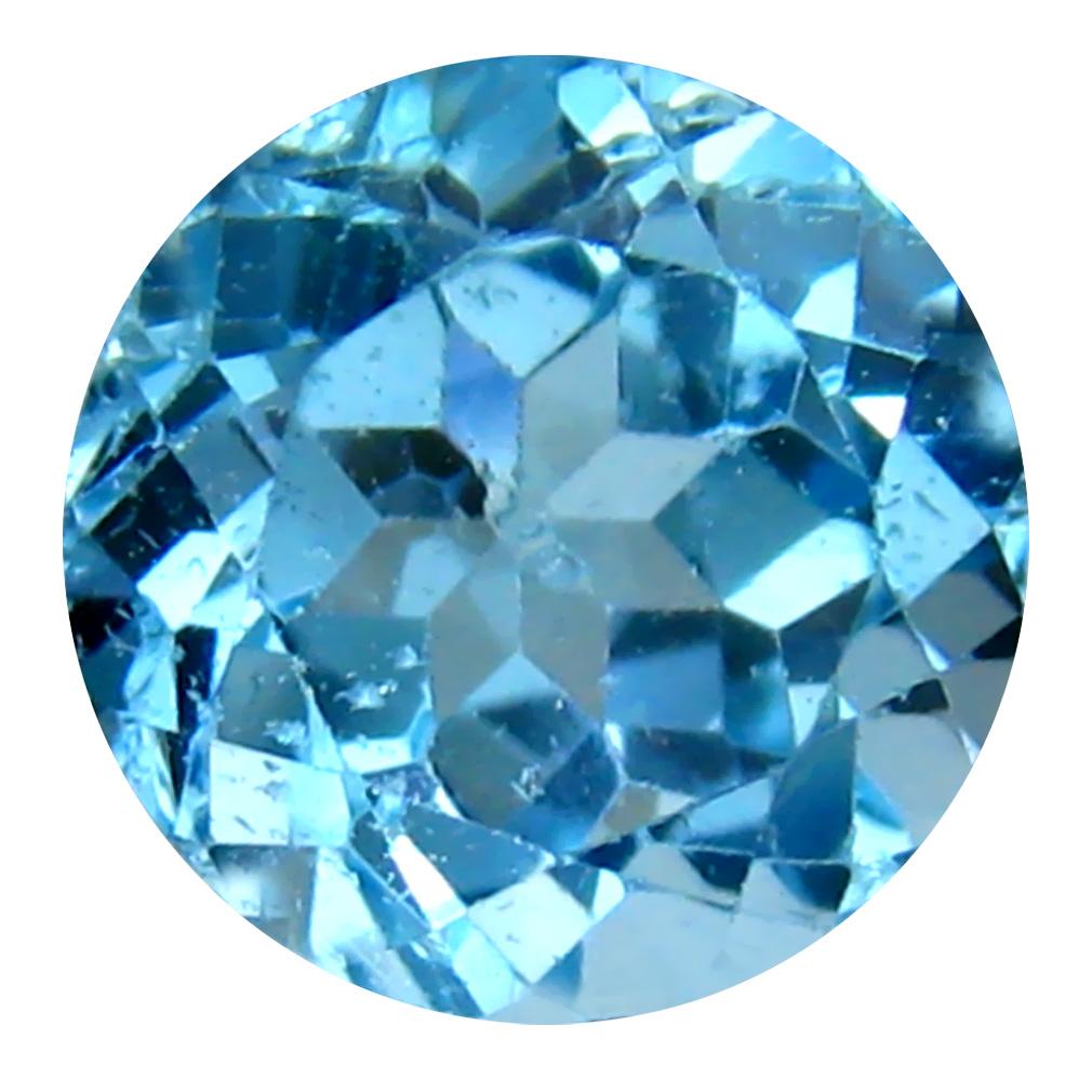 5.23 ct Spectacular Round Cut (10 x 10 mm) Brazil Blue Topaz Natural Gemstone
