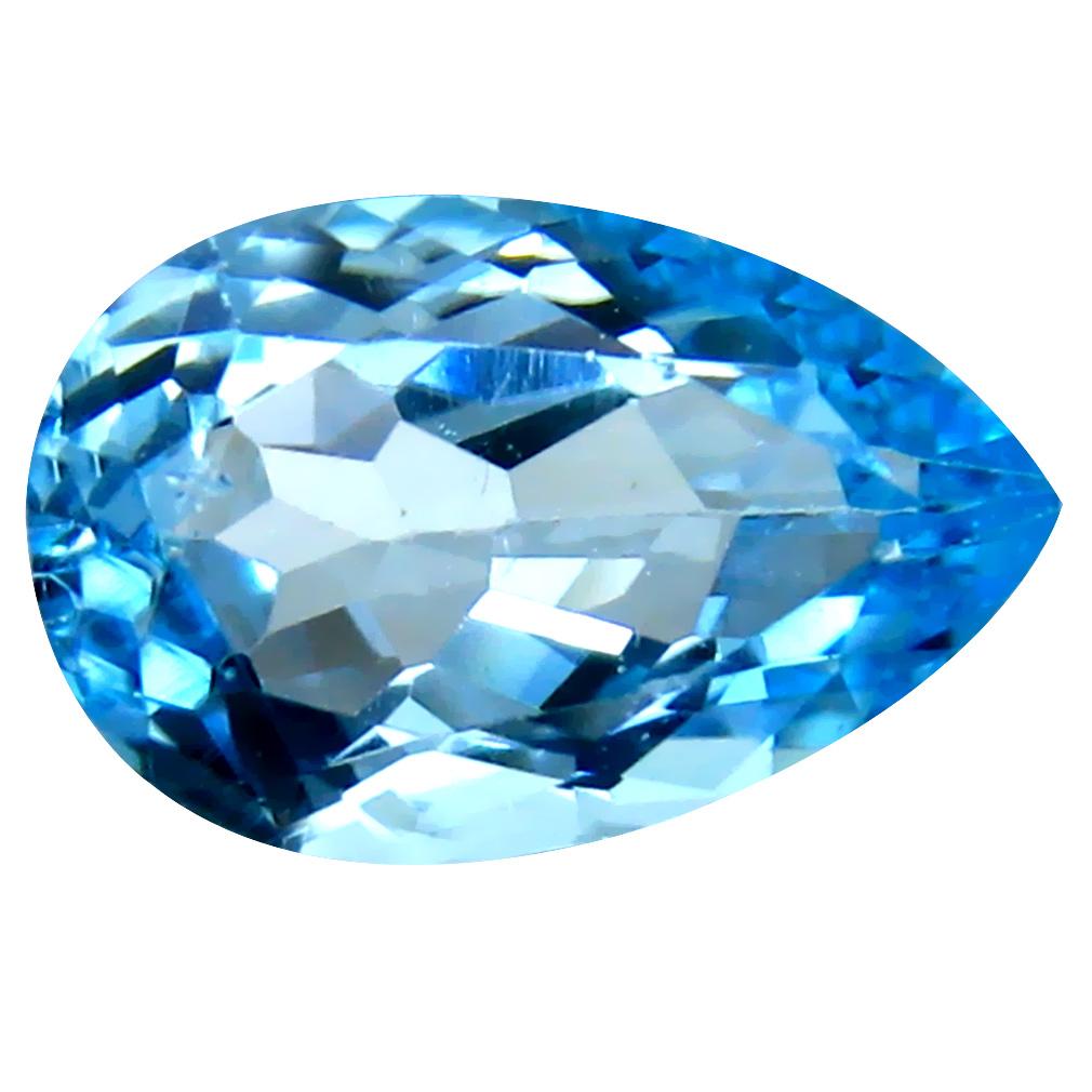 5.64 ct Eye-popping Pear Cut (14 x 9 mm) Brazil Blue Topaz Natural Gemstone