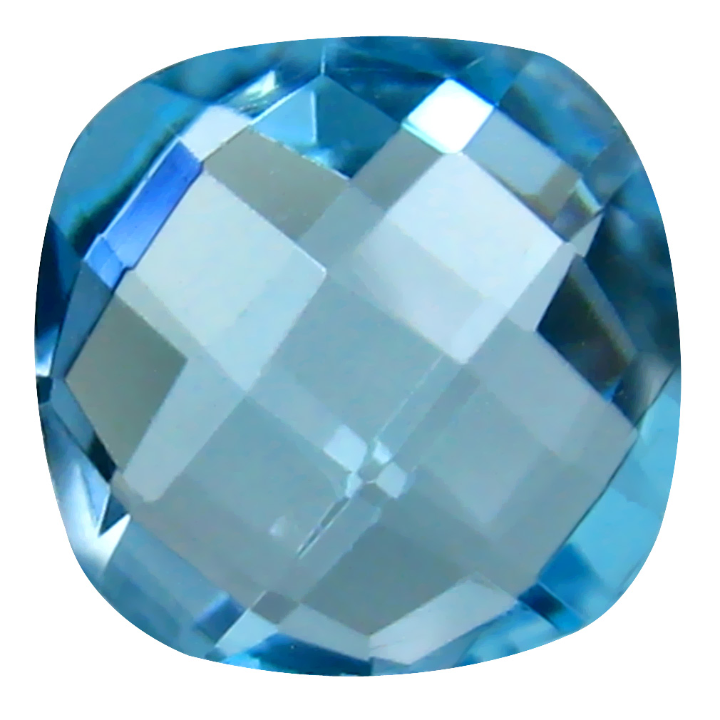 4.72 ct First-class Cushion Cut (10 x 10 mm) Brazil Blue Topaz Natural Gemstone