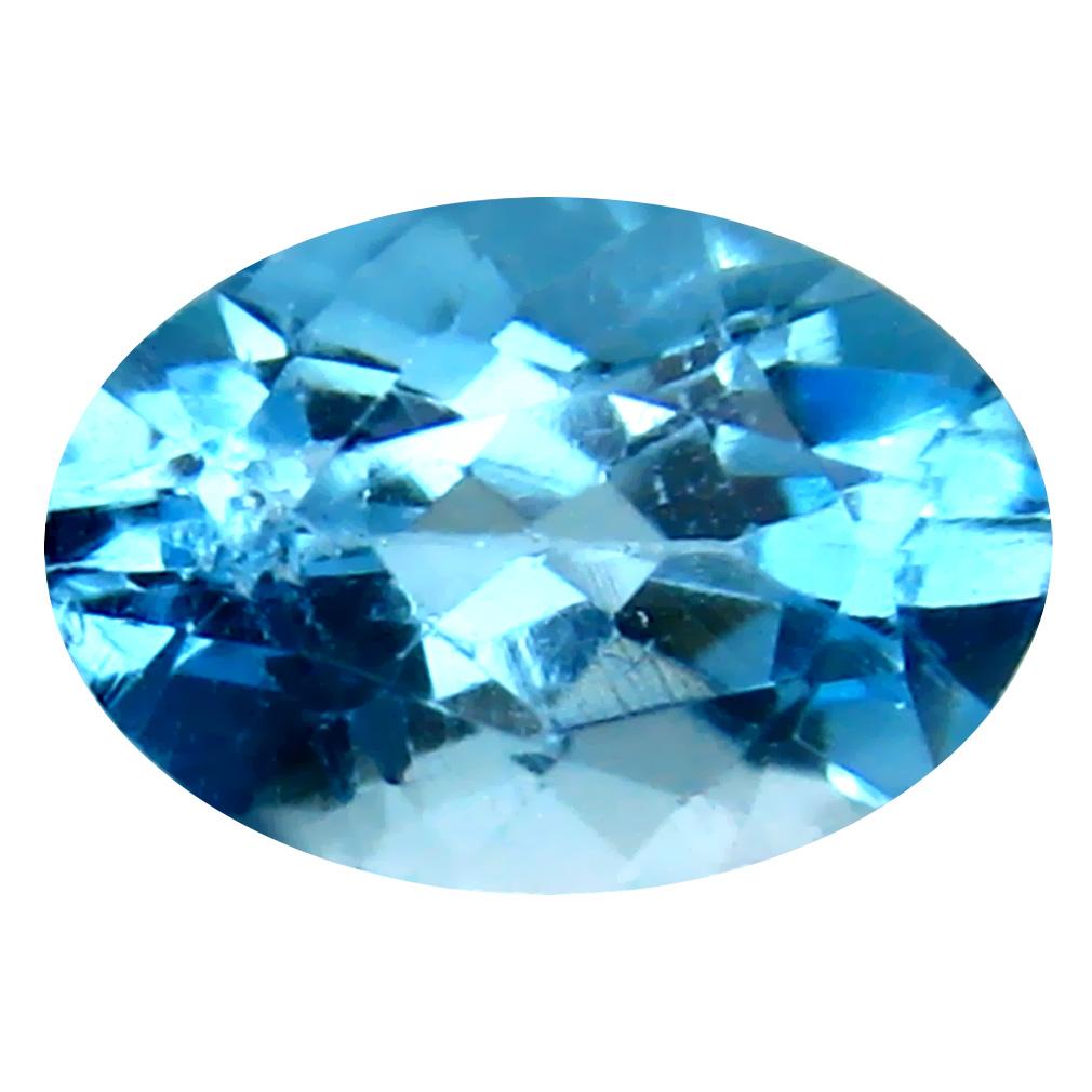 3.94 ct Topnotch Oval Cut (12 x 8 mm) Brazil Blue Topaz Natural Gemstone