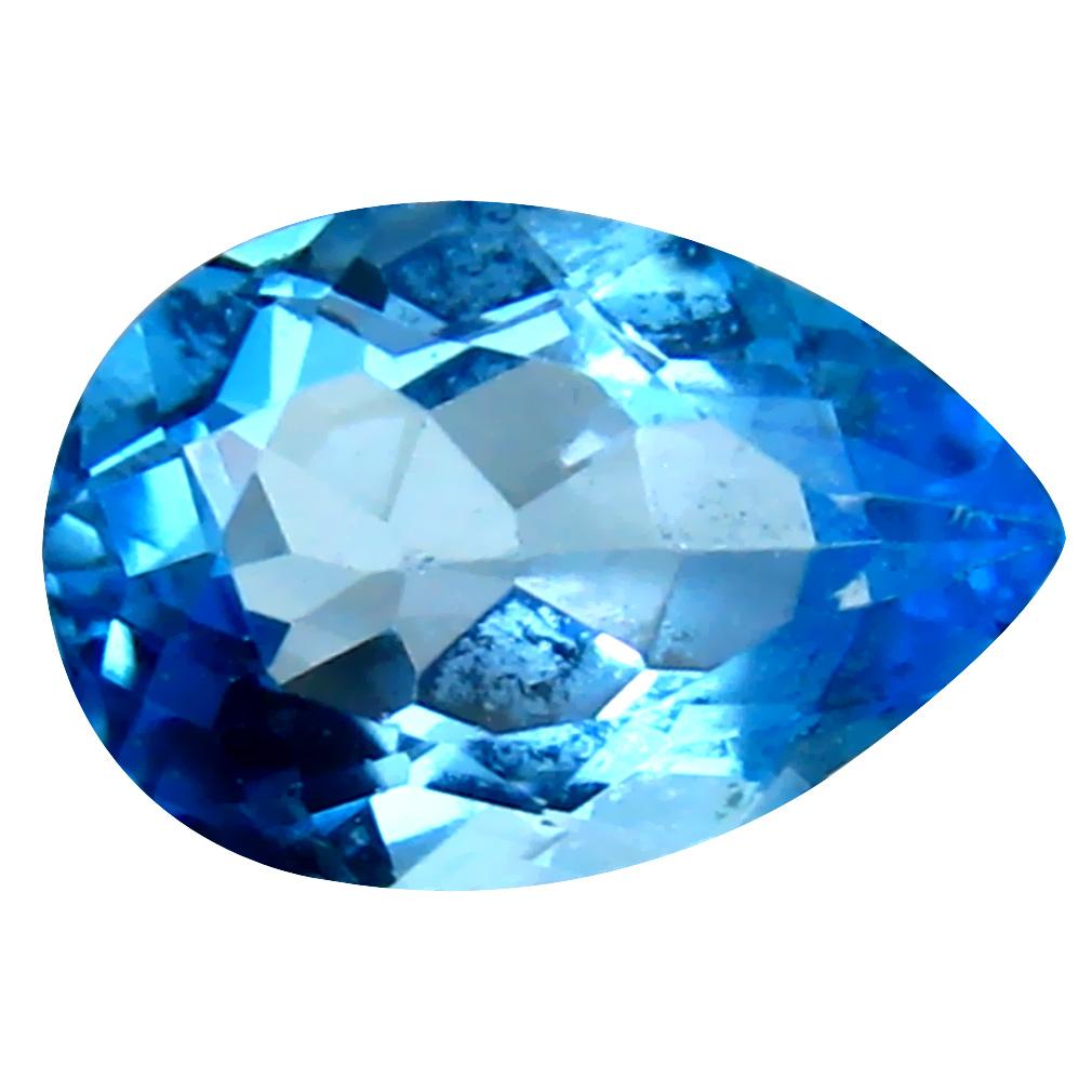 3.41 ct Good-looking Pear Cut (12 x 8 mm) Brazil Blue Topaz Natural Gemstone