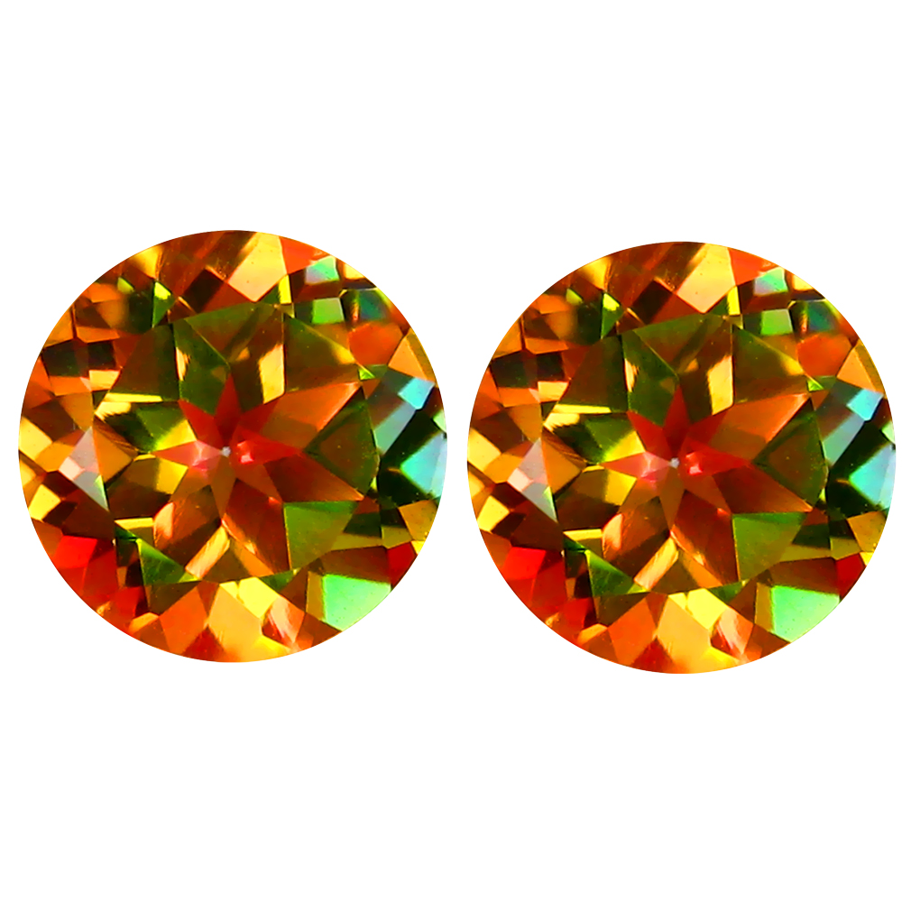 4.02 ct (2pcs) Extraordinary MATCHING PAIR Round Shape (8 x 8 mm) Stellar Topaz Natural Gemstone