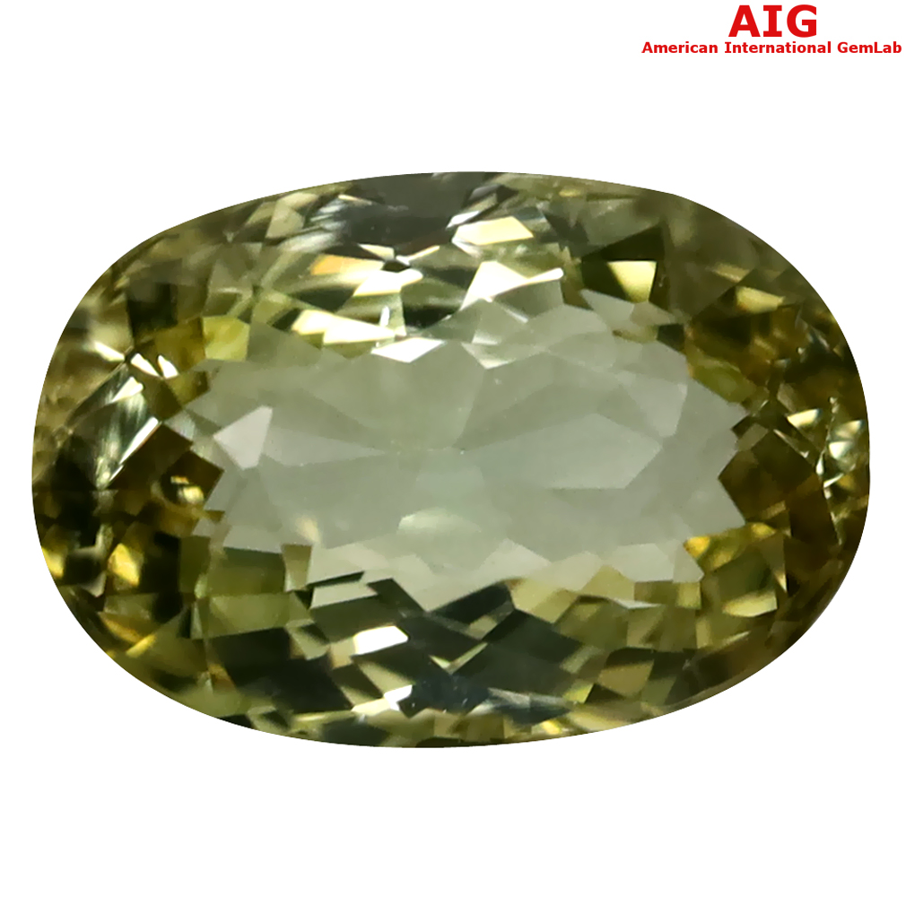 6.43 ct AIG Certified Spectacular Oval Cut (13 x 9 mm) Unheated / Untreated Greenish Yellow Tourmaline Loose Stone