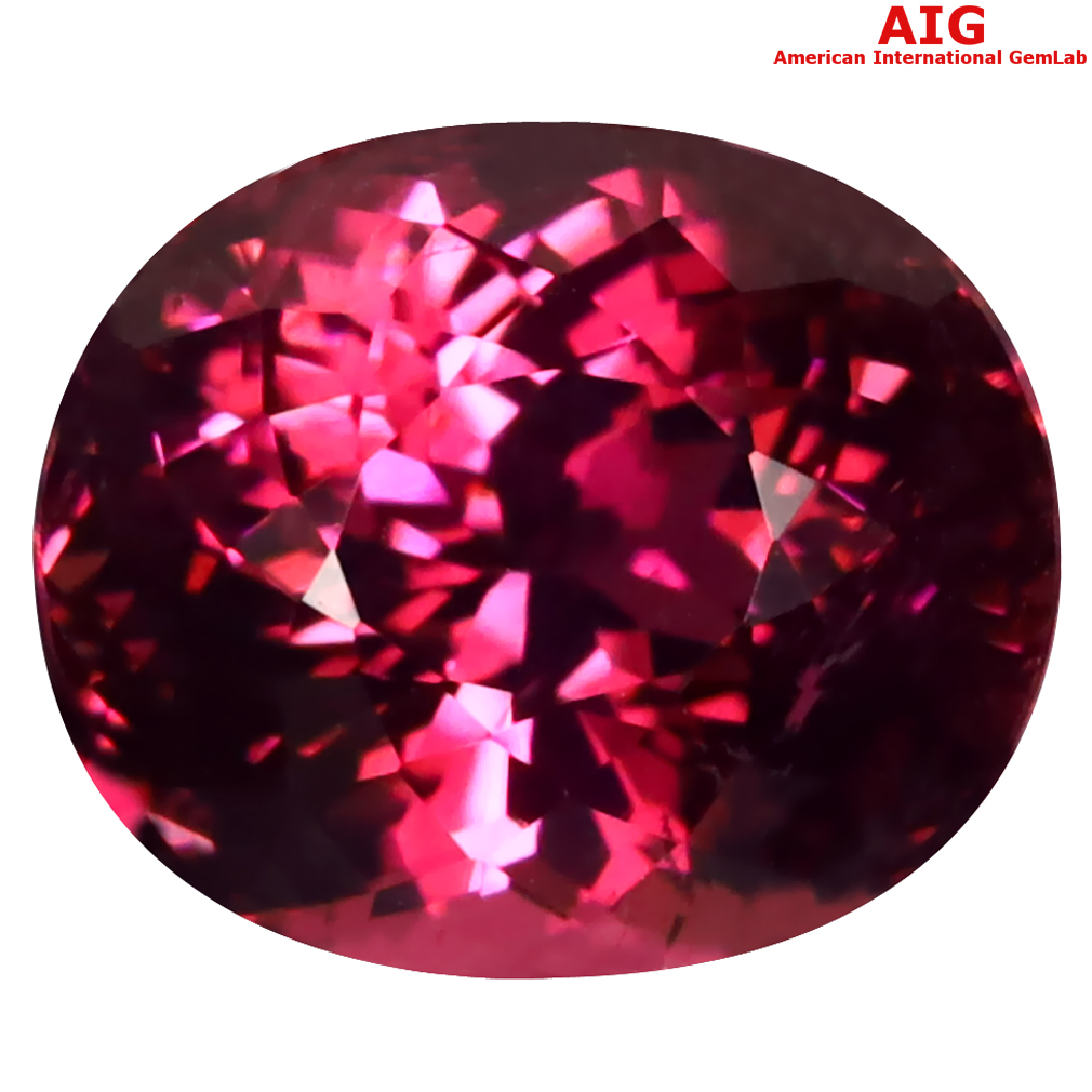 6.64 ct AIG CERTIFIED EYE-POPPING OVAL CUT (11 X 9 MM) MOZAMBIQUE RUBELLITE TOURMALINE LOOSE STONE
